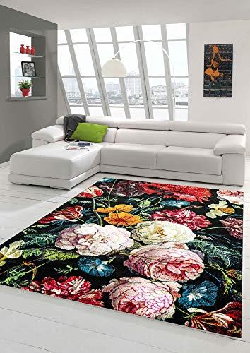 Teppich Blumen Wohnzimmer Teppich Blumenstrauß in schwarz Creme rot Größe 120x170 cm