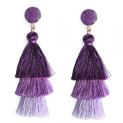 Me&Hz Fashion Layered Tassel Earrings Dangle Drop Studs for Women Girls Statement Lavender Purple Ombre Thread Tassel Earring Birthday/Party/Christmas Gift