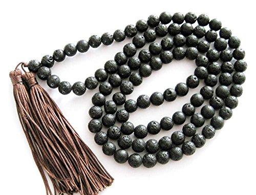 OVALBUY 8mm 108 Black Stone Beads Buddhist Prayer Mala Necklace