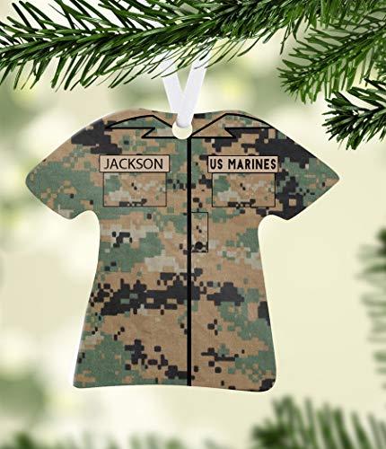 Toll2452 Personalized Marines USMC Ceramic Porcelain Christmas Tree Ornament Military US Marines Customized Keepsake Veteran Soldier Gift