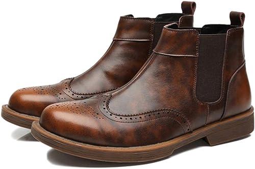 snfgoij Chelsea Stiefel Herren Wildleder Formelle Sicherheit Brogue Klassische Martin Stiefel Bullock Carved Herren Stiefel