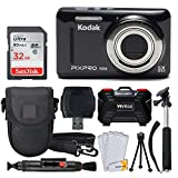 Kodak PIXPRO FZ53 16.15MP Digital Camera (Black) + 32GB Memory Card + Point and Shoot Camera Case + Extendable Monopod + Lens Cleaning Pen + LCD Screen Protectors + Table Top Tripod – Ultimate Bundle