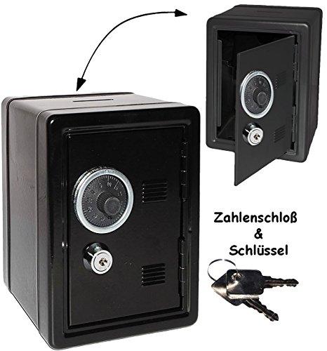 alles-meine.de GmbH Spardose Tresor Schrank -  Schwarz  - mit Schlüssel & Zahlenschloss / Zählwerk - aus Metall - stabile Sparbüchse für die Reisekasse - Geldtresor / Geldsafe ..