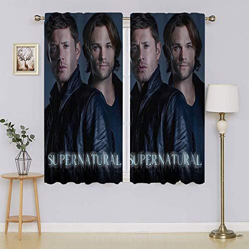 lacencn Supernatural TV Series Poster Dean & Sam Winchester Cortinas de ventana, bloqueador de luz completa cortinas mantienen calientes cortinas, cortinas correderas para sala de estar W52 x L63