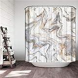 Chickwin Duschvorhang Wasserdicht Schimmelresistent, Polyester Anti-Schimmel Bad Vorhang mit 12 Duschvorhangringe 3D Marmor Drucken Badvorhänge für Badezimmer Decor (Weiß,180x200cm)