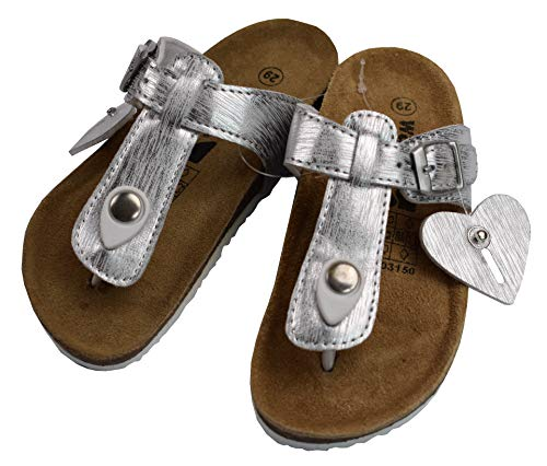 WALKX Sandalen Sandaletten Kinderschuhe Mädchen Silber mit Schnalle (29 EU)