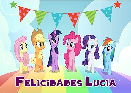 OBLEA DE MY Little Pony Personalizada con Nombre y Edad para Pastel o Tarta, Especial para cumpleaños, Medida Rectangular de 28x20cm