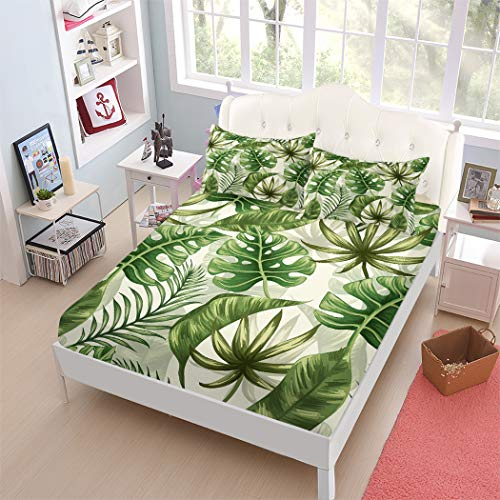 ARL HOME Bed Sheet Set Queen Size Tropical Bedding Green Plant Palm Banana Leaves Bed Set 4PC Jungle Botanical Leaf 1 Flat Sheet +1 Fitted Sheet+2 Pillow Cases