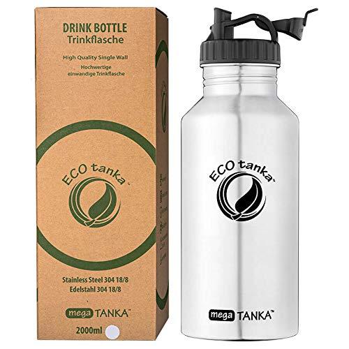 ECOtanka megaTANKA 2L Edelstahl Trinkflasche BPA frei inkl. Ersatzdichtungs-Service - auslaufsicher, spülmaschinengeeignet, kohlensäuregeeignet, langlebig(Poly Loop Verschluss)