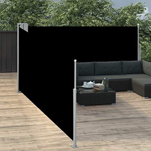Benkeg Toldo Lateral Retráctil Negro 100x1000 cm, Toldo Terraza, Jardín, Balcon, Toldo De Exterior Toldo De Patio Toldo Impermeable