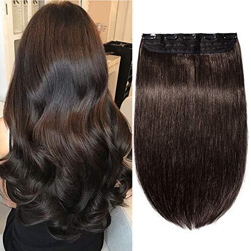 (40-60cm) Extensions Echthaar Clip in Dick Haarteile Echthaar Weich Natürlich 7A Remy Haar Haarverlängerung 1 Teil 5 Clips 60cm-105g 02# Dunkelbraun