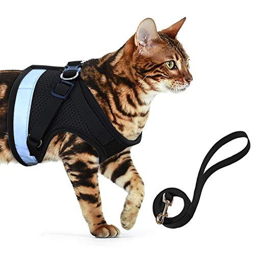 AEITPET Katzengeschirr katzenleine Geschirr für Katzen Ausbruchsicher Welpengeschirr Weich Kaninchengarnitur Katzen Air Mesh Verstellbar Hundeweste Harness (M, schwarz 2)