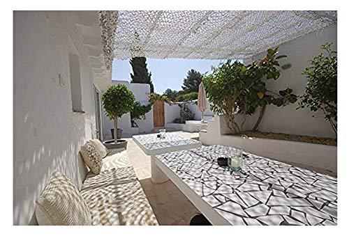 Red de camuflaje Blanco, 6m 8m 10m Red de camuflaje Pantalla de malla de malla de protección solar del ejército Ligero para el jardín Terraza Balcón Pérgola Mirador Decoración de sombrillas Caza Ciego