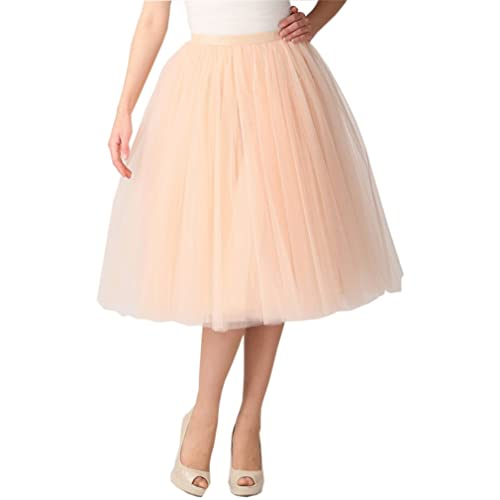 0b9efa8cce3a5 Lisong Women Tea Length 5-Layered Tulle A-line Tutu Party Prom Skirt