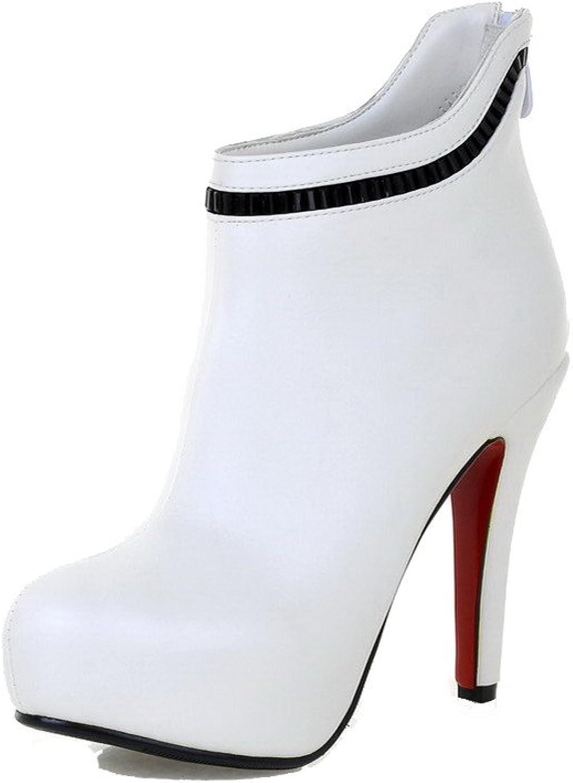 WeenFashion Women's Zipper Round Closed Toe High-Heels PU Ankle-high Boots
