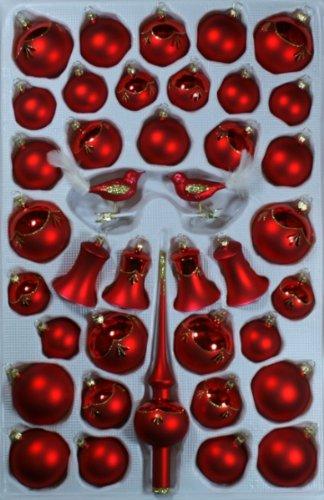 Sortiment mit klingenden Glocken rot glanz/matt 39 Teile Christbaumschmuck Weihnachtsschmuck mundgeblasen,handdekoriert Lauschaer Glas das Original