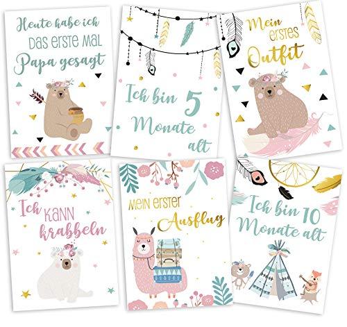 JoliCoon® Meilensteinkarten im Boho Stil - Baby erstes Jahr für Mädchen und Junge - Geschenk zur Geburt Babyparty für werdende Eltern - Fotokarten Meilensteine für 1. erstes Lebensjahr