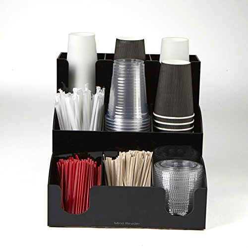 Mind Reader 9 Compartment Coffee Condiment and Accessories Organizer, Black