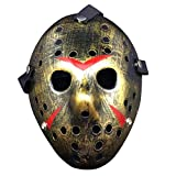 Wen XinRong Jason Mask Halloween Costume Horror Mask Cosplay Costume Mask Party Masquerade Props Mask (Gold)
