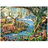 5DダイヤモンドペインティングキットフルドリルDIYラインストーンアートクラフト(家の壁の装飾用)(12x16inch / 30x40cm)ニホンジカの森の動物のダイヤモンドの描画