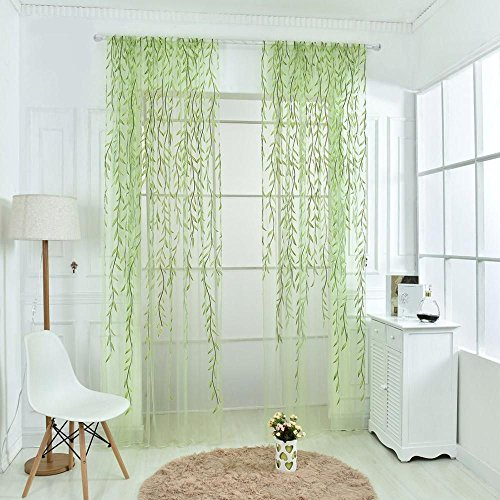 ICYANG Leaf Curtains, Window Curtains Vine Curtain Willow Tulle Room 78.6 x 39.3 Inch, Sheer Curtains Green Window Curtain Drape Panel Sheer Valances for Living Room Bedroom Balcony Door