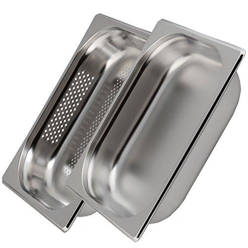 Greyfish 2 Stück GN-Behälter Set :: 1x gelocht / 1x ungelocht :: für Gaggenau/Miele/Siemens Dampfgarer (Edelstahl/Spülmaschine geeignet, Gastronorm 1/2, B 32,5 x T 26,5 x H 6,5 cm)