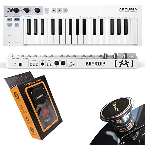 Arturia, KeyStep 32-Key Controller & Sequencer Slim Keyboard with Polyphonic Step Sequencing Chord and Arpeggiator Modes Capacitive Pitch and Mod Strips with Gravity Magnet Phone Holder Bundle