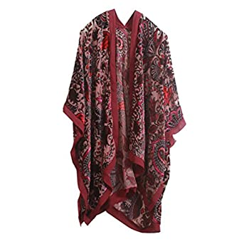 Boho Floral Burnout Velvet Kimono Front Opent Cardigan Velvet Poncho Cape Ruana Shawls Wraps
