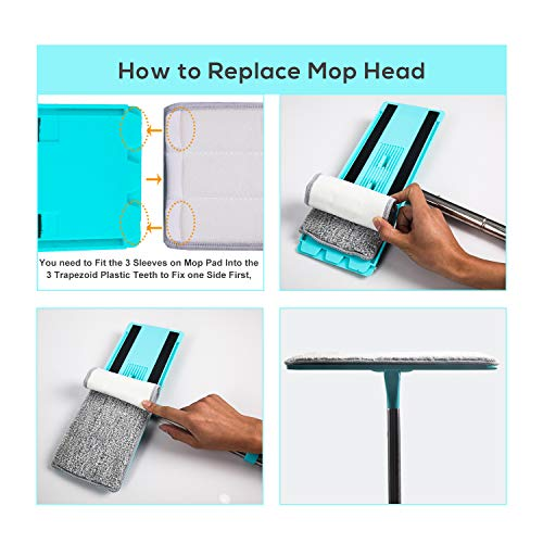 kalokelvin Microfiber Mop and Bucket System with 4 Washable Flat Microfiber Mop Pads for Home Bathroom Windows/Kitchen/Office Corner Floor Cleaning