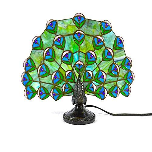 LHJ LIGHTING Lámpara de animales estilo animal pavo real tiffany lámpara verde