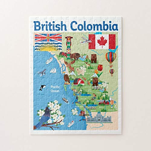 "British Colombia Cartoon Map Puzzles for Adults, 1000 Piece Kids Jigsaw Puzzles Game Toys Gift for Children Boys and Girls, 20"" x 30\"""