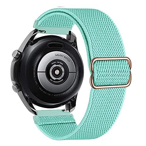 Ajustable Correas Nailon Compatible con Samsung Galaxy Watch 46mm/Gear S3 Frontier, 22mm Correa de Repuesto Compatible con Huawei Watch GT/GT 2 46mm, Banda Mujer y Hombre, Pulsera, Menta Verde