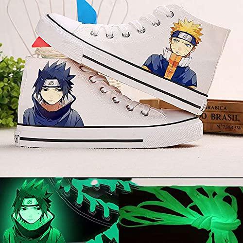 QOOO Zapatillas de Deporte de Anime de Dibujos Animados con Estampado de Anime Zapatos de Lona de Naruto Zapatos Zapatillas de Deporte de Encaje Luminoso,White 1,31EU