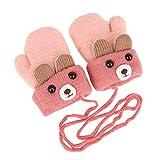 Kinder Winter Handschuhe Fäustlinge Baby Cartoon Fausthandschuh Halshandschuhe Dicke Doppelt Strickhandschuh mit Plüsch,0-3 Jahre alt, Spielen, Laufen, Skifahren Bedarf