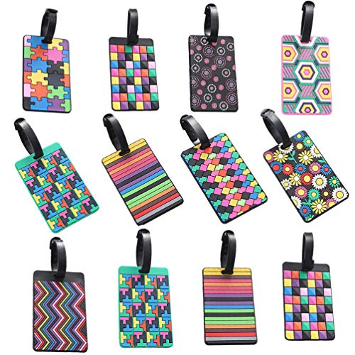 NUOBESTY 12pcs Rubber Luggage Tags Travel Suitcase Bag Identify Label Business Card Holder with Loop for ID Card (Random Style)