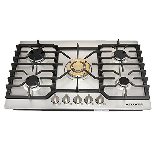 """[Ship from CA,US ] METAWELL 30"""" Stainless Steel Gold Burner Built-in 5 Stoves Natural Gas Cooktops Cooker"""