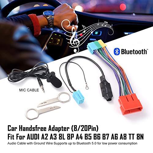 Basumone Adaptador de Manos Libres Bluetooth, Adaptador de Manos Libres estéreo de música, Compatible para Audi A2 A3 8L 8P A4 B5 B6 B7 A6 A8 TT 8N 8/20 Pines