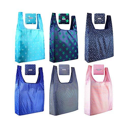 Lot de 12 sacs d'épicerie réutilisables, pliables, sac fourre-tout dans une pochette attachée, peut contenir jusqu'à 20 kg, étanche, lavable, durable, léger