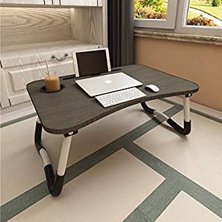 Laptop Bed Table, Aitmexcn Foldable Portable Lap Standing Desk with Cup Slot, Notebook Stand Breakfast Bed Tray Book Holde...