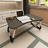 Aitmexcn Laptop Bed Table, Foldable Portable Lap Standing Desk with Cup Slot, Notebook Stand Breakfast Bed Tray Book Holder for Sofa, Bed, Terrace, Balcony, Garden - Black