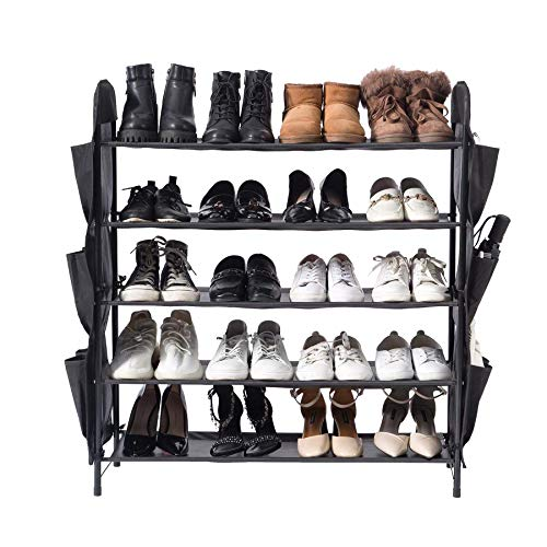 UDEAR Shoe Rack Free Standing Shoe Organizer5-Tier with Side 12 Shoes Pockets315inches WideBlack