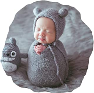 Newborn Baby Photography Props Outfits Hat Long Ripple Wrap Set for Boys Girls Photography Grey