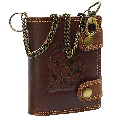 EL Torro Büffel Voll Leder Geldbörse Portemonnaie mit RFID Schutz Brieftasche Herren Geldbeutel mit Kette