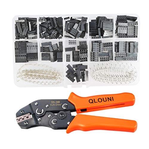 QLOUNI 620 Stück Dupont Stecker 2.54mm Verbindungsstecker + SN-28B Crimpzangen 0.1-1.0mm² 28-18AWG Dupont