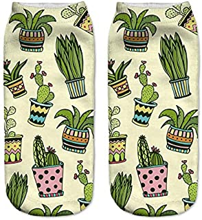 NANAYOUPIN, Calcetines 5 Pares de Nueva impresión de Cactus 3D Heartbeat Paraíso para niños Patrón de Perro Lindo Calcetines de algodón Hombres y Mujeres Calcetines de Confort Casual Cactus