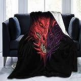 JOOCAR Mantas y mantas de franela manta para sofá/cama manta de felpa fresca cara de dragón manta mullida regalo para bebé niña niño papá mamá