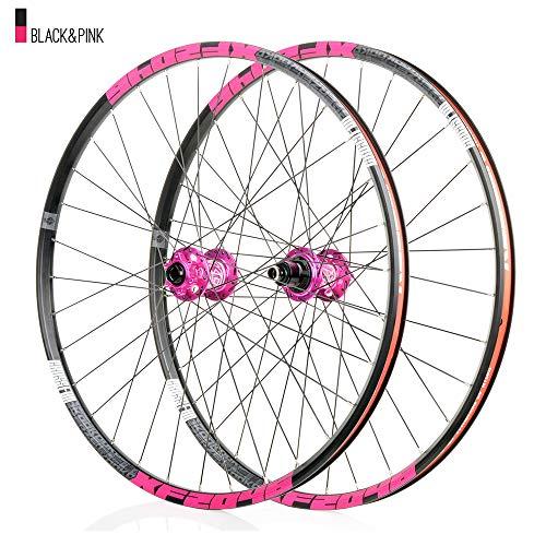 Juego ruedas Conjunto bicicleta montaña Rosado MTB doble pared Aleación aluminio Cubo rueda libre Freno disco llanta Liberación rápida Rodamiento Ciclismo delantera rueda trasera,8-12 velocidad,29'