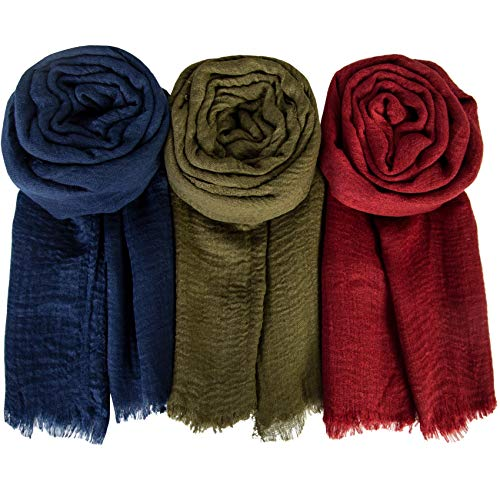 Chalier 3 Pack Women Scarf Shawl Hijab Scarfs Soft Long Scarves for All Season Lightweight Head Wrap,dark blue/wine red/army green
