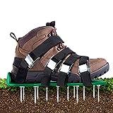 Aunus Aérateur de pelouse - Scarificateur de Gazon - Chaussures avec 5 Sangles réglables et métal - Taille Universelle - Convient pour Chaussures ou Bottes