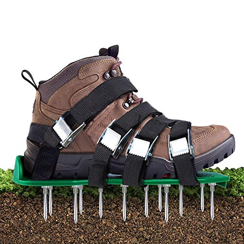 Aunus Lawn Aerator Lawn Aerator Scarifier Lawn Scarifier Lawn Nail Shoes with 5 Adjustable Straps and Metal, Universal Size Fits Shoes or Boots for Lawn Yard